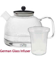 German Glass Kettle with Stainless Steel Lid and German Glass Infuser 7.5 Cups