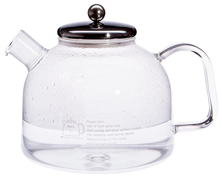 German Glass Stove Top Kettle 7.5 Cup with Stainless Steel Lid
